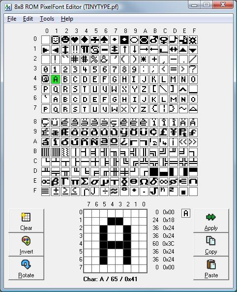 字体编辑软件 8×8 Pixel ROM Font Editor 2.7
